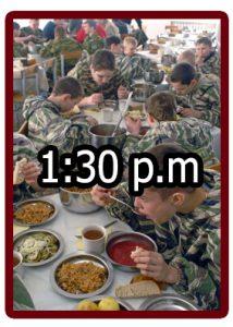 Horario en el campamento militar 1:30 p.m