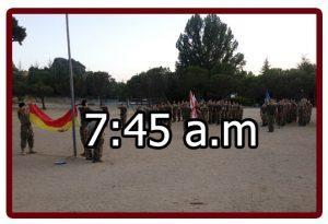 Horario en el campamento militar 7:45 a.m