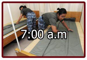 Horario en el campamento militar 7:00 a.m