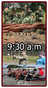 Horario en el campamento militar 9:30 a.m