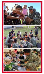 Primeros auxilios para niños en campamentos con tematica militar