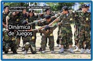 Dinámica de juegos en los campamentos militares para niños